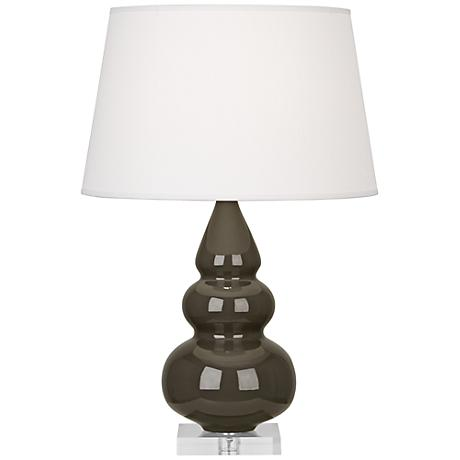 Robert Abbey Brown Tea Triple Gourd Ceramic Table Lamp