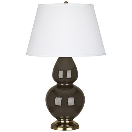 Robert Abbey Brown Tea Ceramic and Brass Table Lamp
