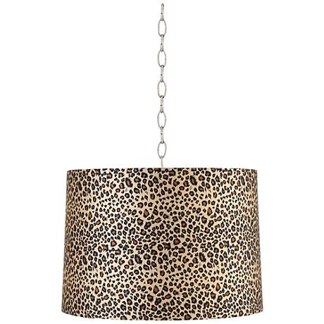 "Leopard Print 16"" Wide Brushed Steel Shaded Pendant Light"