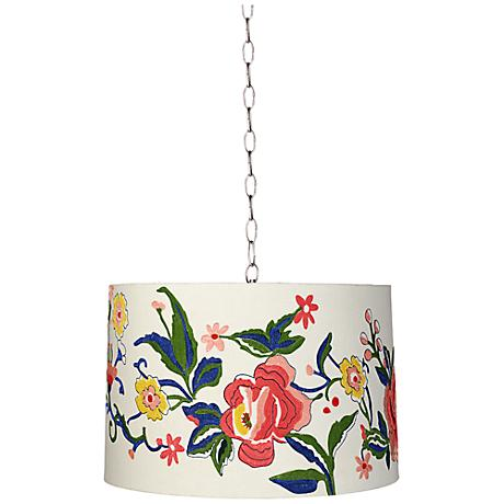 "Embroidered Floral 16"" Wide Brushed Steel Shaded Pendant"