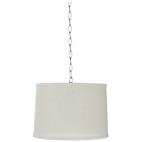 "Cream Burlap 14"" Wide Brushed Steel Shaded Pendant Light"