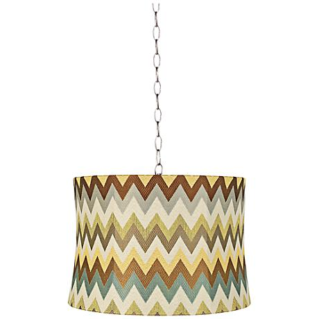 "Blue and Brown Chevron 16""W Steel Shaded Pendant Light"