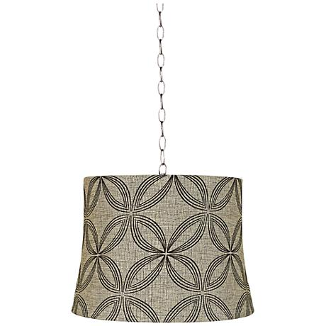 "Velveteen Circles 16""W Brushed Steel Shaded Pendant Light"