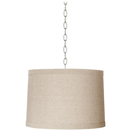 "Linen Drum 16"" Wide Brushed Steel Shaded Pendant"