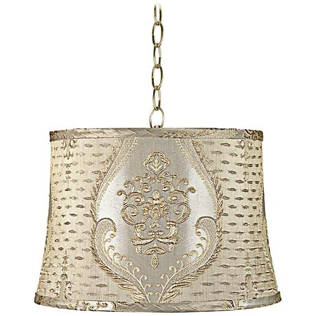 "Marabella Brocade 15""W Antique Brass Shaded Pendant Light"