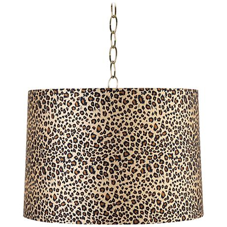 "Leopard Print 16"" Wide Antique Brass Shaded Pendant Light"