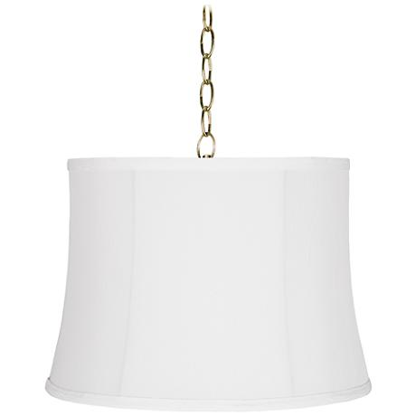"Wavy White 16"" Wide Antique Brass Shaded Pendant Light"