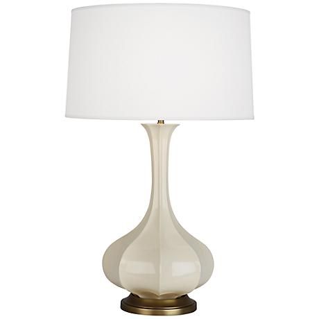 Robert Abbey Pike Bone Ceramic and Brass Table Lamp