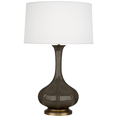 Robert Abbey Pike Brown Tea Ceramic and Brass Table Lamp