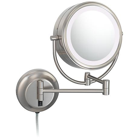 "Aptations NeoModern 9"" Wide Brushed Nickel LED Wall Mirror"