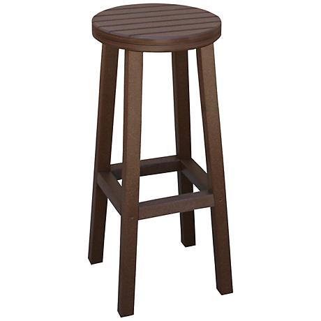 "Eastport 30"" Recycled Plastic Brown Outdoor Barstool"