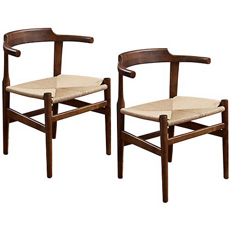 Ranger Set of 2 Mod Walnut Accent Chairs
