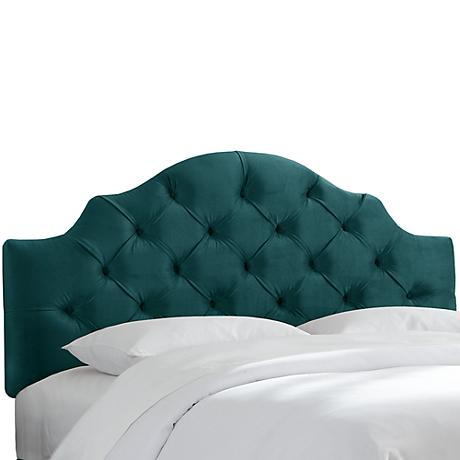 Mystere Peacock Tufted Fabric Headboard