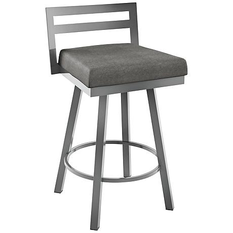 "Amisco Derek Cloud 26"" Magnetite Glossy Gray Counter Stool"