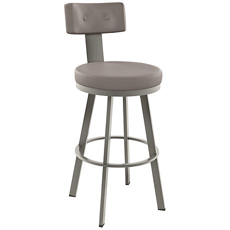 "Amisco Tower Stratus 30"" Titanium Warm Gray Bar Stool"