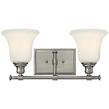 Hinkley colette 16 1 2 wide brushed nickel bathroom light for Hinkley bathroom vanity lighting