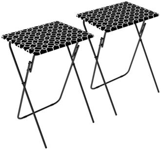 Park Place Metal Black and White TV Tray Table Set of 2 (5V823)
