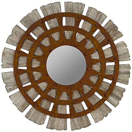 "Cooper Classics Zhubin 30"" Sunburst Wood Wall Mirror"