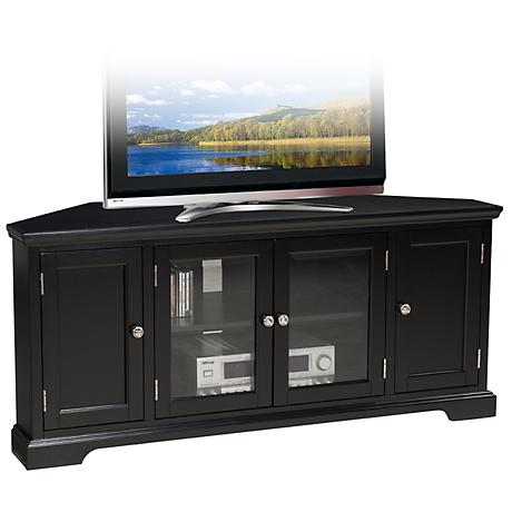"Leick Raised Panel 4-Door Black 56"" Corner TV Stand"