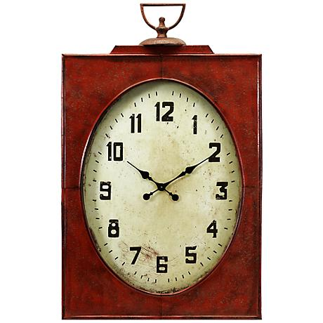 "Carnen Oversized 47"" High Red Wall Clock"