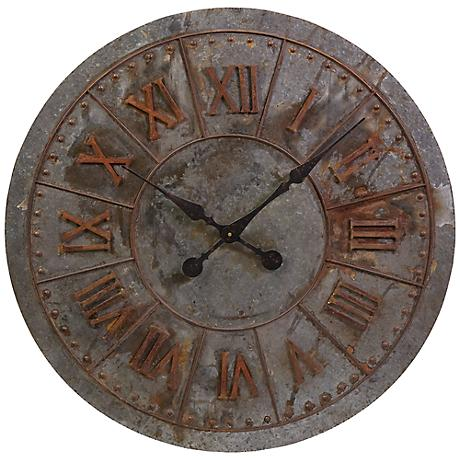"Gilbert 32"" Round Galvanized Wall Clock"