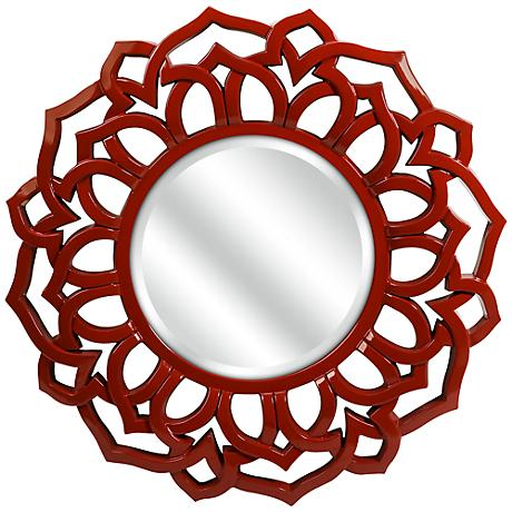 "Calantha Red 33"" Round Wall Mirror"