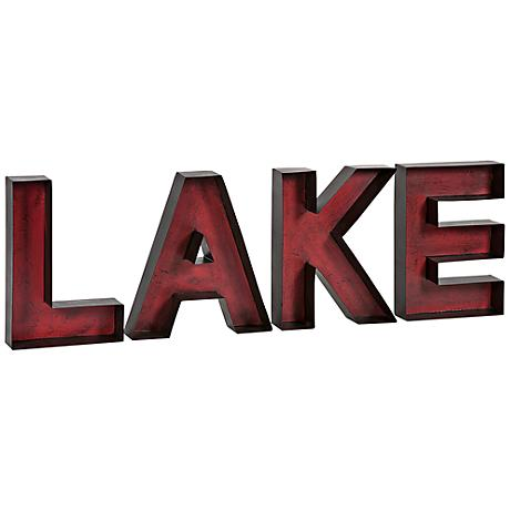 "Lake 34"" Wide Metal Letters Wall Art"