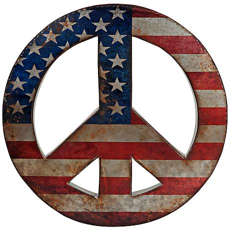 "American Peace 19 1/2"" Round Wall Art"