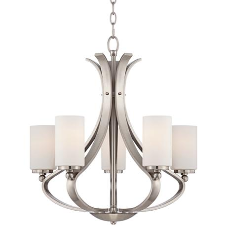 Possini euro kadence 5 light 23 1 4 w nickel chandelier for Possini lighting website
