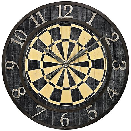 "Dart Board 24"" Round Wall Clock"