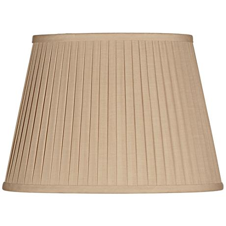 Beige Knife Pleat Oval Linen Shade 12/8x16/12x11 (Spider)
