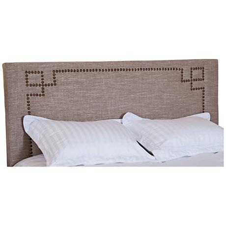 Brady Chamois Greek Key Upholstered Headboard