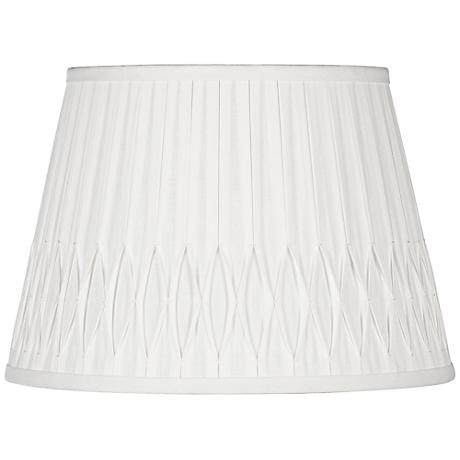 Off-White Bottom Smocked Linen Shade 10x14x10 (Spider)