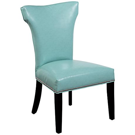 Nelson Aqua Vinyl Shaped Parsons Chair