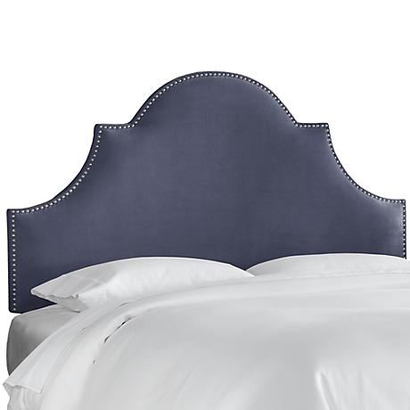 Regal Ocean Blue Fabric Notched Headboard