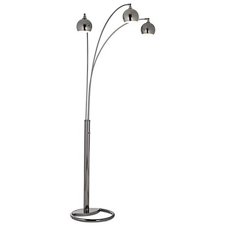 Three Light Black Nickel Arc Floor Lamp by Nova Lighting