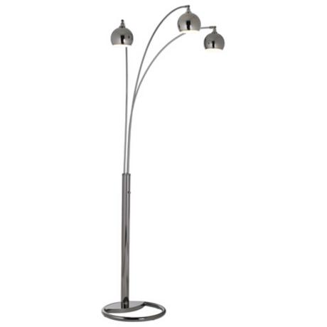 Three Light Black Nickel Arc Floor Lamp