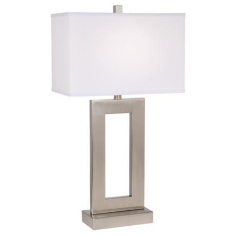 Brushed Steel Open Window Rectangular Table Lamp