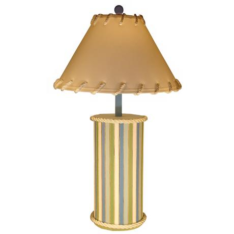 Wood Plank Beach Stripe Cylinder Table Lamp