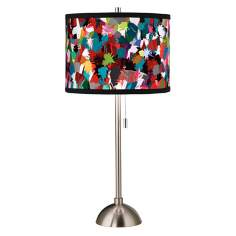 Color Splatter Giclee Style Art Shade Table Lamp