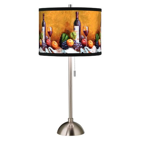 Wine And Fruit Giclee Style Art Shade Table Lamp