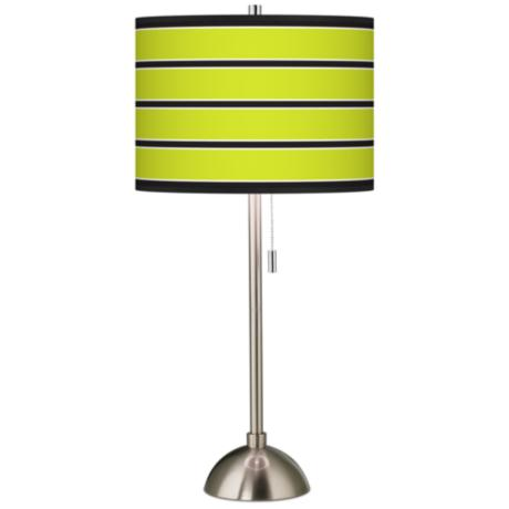 Giclee Bold Lime Green Stripe Table Lamp
