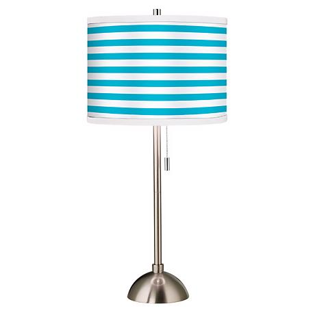 Giclee Aqua Horizontal Stripe Table Lamp