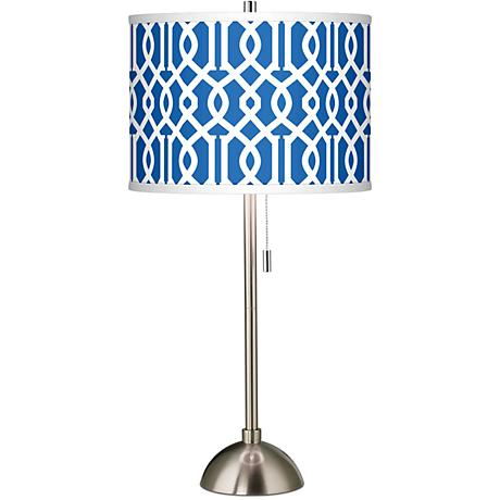 Chain Reaction Giclee Brushed Steel Table Lamp