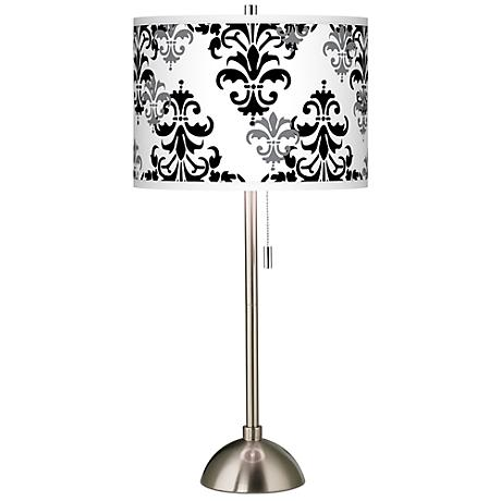Damask Shadow Giclee Brushed Steel Table Lamp