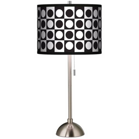 Giclee Black/White Dotted Squares Table Lamp