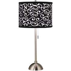 Giclee Curlicue Black Table Lamp