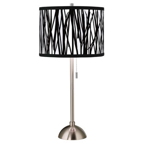 Black Jagged Stripes Giclee Style Table Lamp