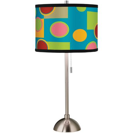 Vibrant Retro Medley Giclee Brushed Steel Table Lamp