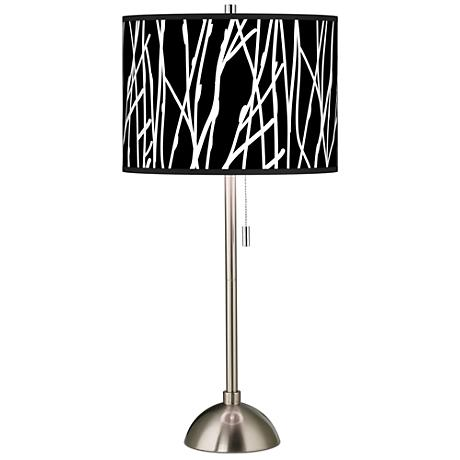 Stacy Garcia Twiggy Black Giclee Brushed Steel Table Lamp